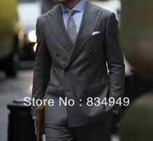 Custom MADE TO MEASURE BESPOKE MIDDLE GREY HOMENS TERNOS; AMPLA PICO LAPELA; DOUBLE BREASTED (Jacket + Pants + Tie + Bolso Quadrados