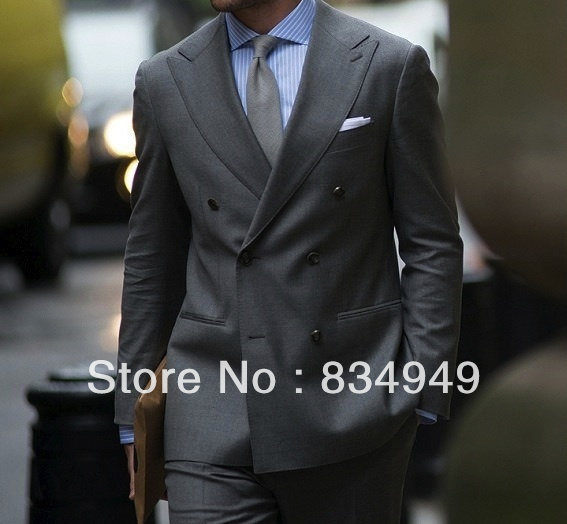 794eb46b85 Online Shop Custom MADE TO MEASURE TAILORED BESPOKE MIDDLE GREY MEN SUITS; WIDE PEAK LAPEL;DOUBLE BREASTED(Jacket+Pants+Tie+Pocket Square   Aliexpress  Mobile