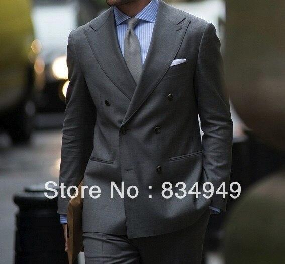 Sur Mesure SUR MESURE SUR MESURE MOYEN GRIS HOMMES COSTUMES; PIC LARGE REVERS; DOUBLE BREASTED (Veste + Pantalon + Cravate + Pocket Square