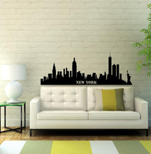 Free Shipping New York Skyline Easy Instant Modern Home Decor Wall Sticker Decal Removable GW-37