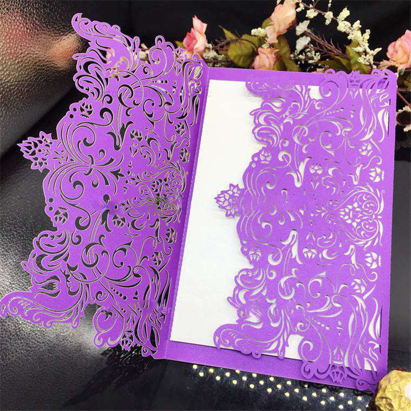 12Pcs/lot Luxury romance wedding Invitation card thickening laser cut Business invitation card Paperboard Greeting card 1 design laser cut white elegant pattern west cowboy style vintage wedding invitations card kit blank paper printing invitation