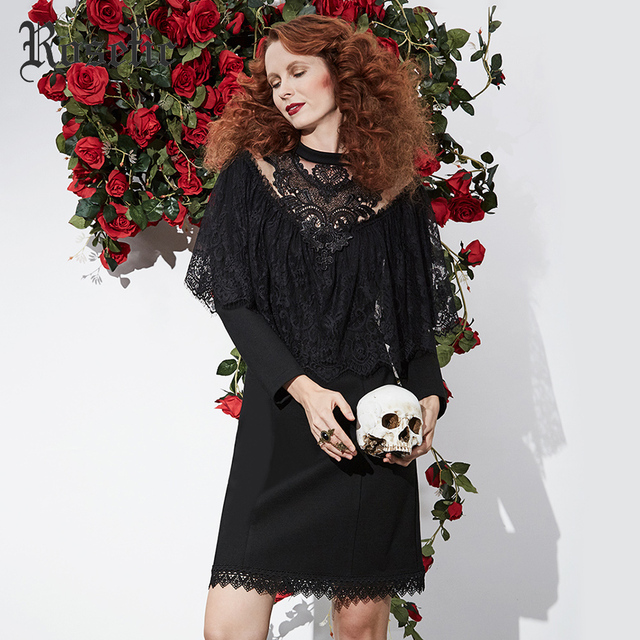 Rosetic Gothic 2018 Dress Black Women Spring Lace Slim Vintage Bodycon Hollow Ruffle Patchwork Sexy Fashion Goth Dresses  3