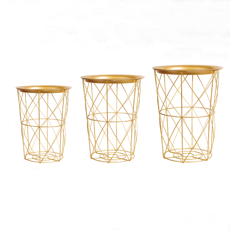 купить Golden Color Metal Storage End Table Modern Living Room Round Coffee Table недорого