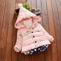 2016 winter fashion flower baby girls jacket with hooded warm cartoon thicken toddler girls outerwear coats kids clothes
