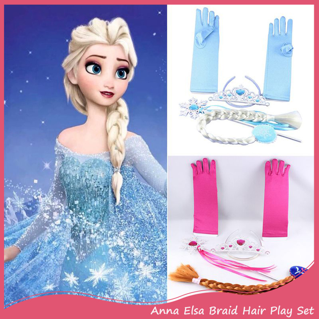 7colors New Fashion Anna Elsa Braid Hair Extension Play Set