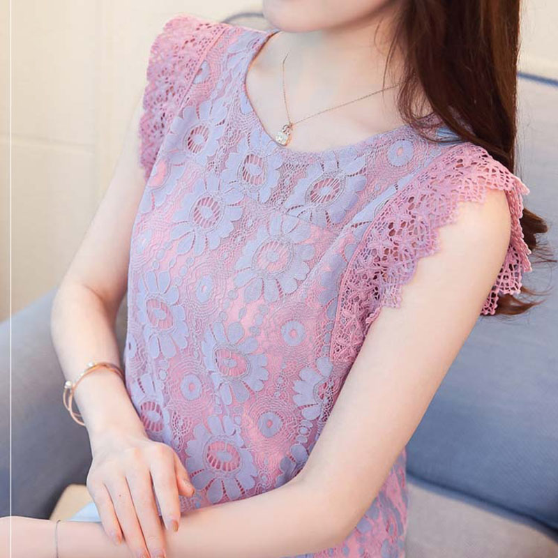 New Design Women Spring Summer Style Sleeveless Lace Blouses Shirts Lacy Casual O-Neck H ...