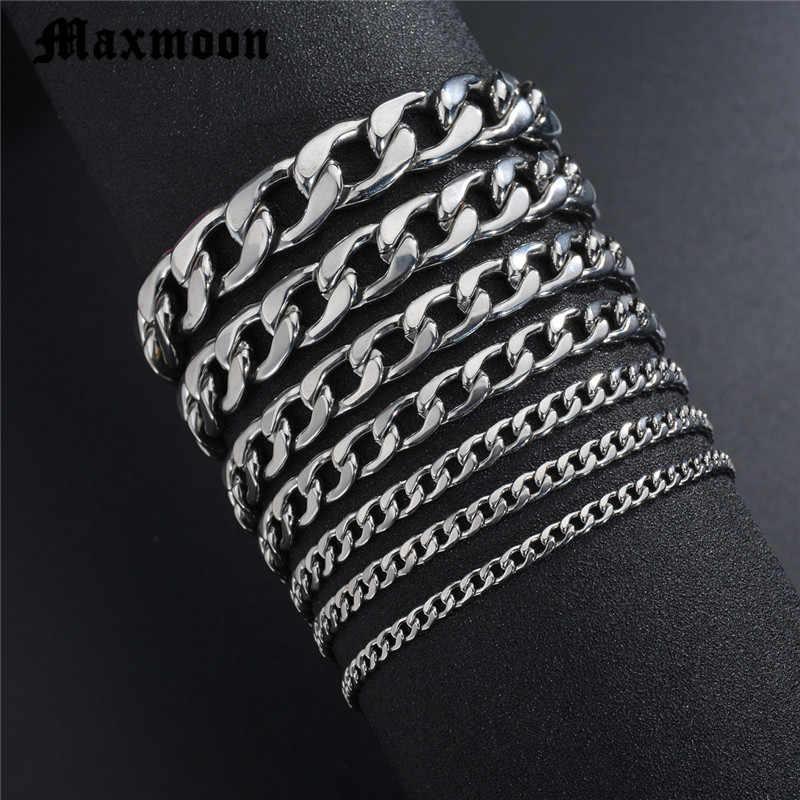 Maxmoon hommes Bracelet chaîne en acier inoxydable poli couleur argent chaînes Bracelet pour hommes lien cubain 3/5/7/9/11mm