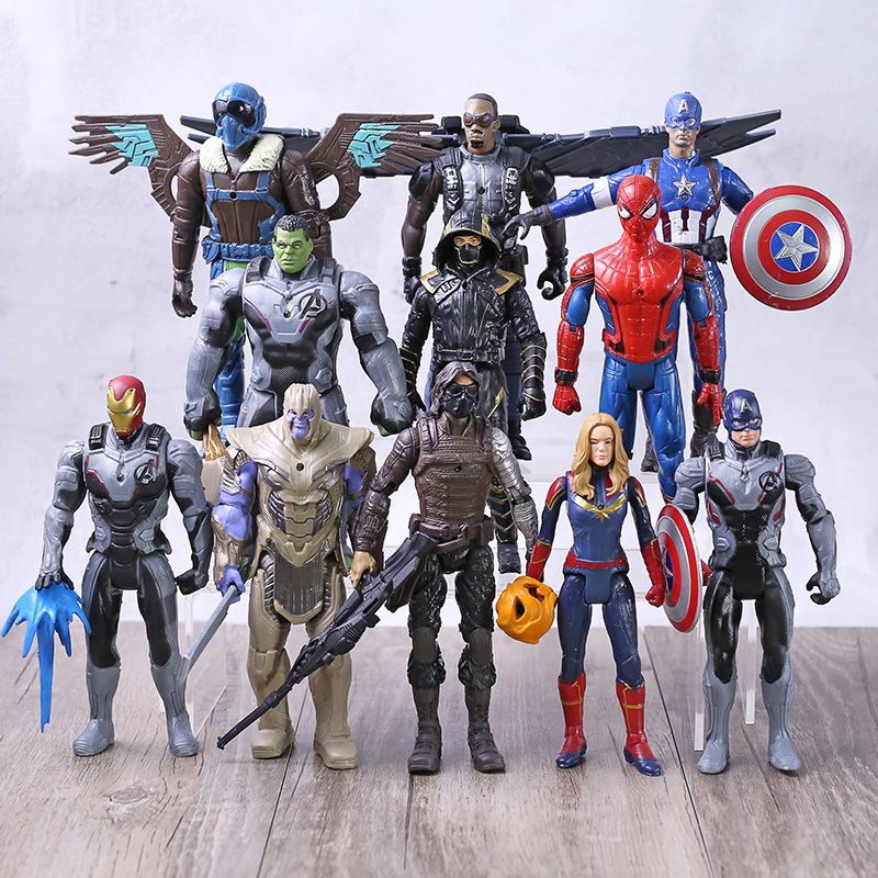 Avengers Endgame Captain America Black Panther Iron Man Thanos Hulk Hulkbuster Spiderman Doctor Strange Thor Falcon Figures Set
