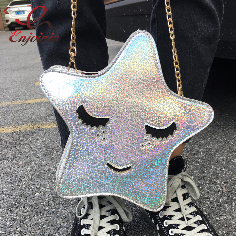 Personality fashion laser cute star shape casual party clutch bag ladies shoulder bag handbag crossbody messenger bag purse flap 26 with smart kits bathroom tv waterproof tv avis avs260f dvb t dvb t2 dvb s2 dvb c free shipping