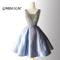 New V Neck Homecoming Dresses 2018 Plus Size Short Prom Dress Sash Beaded Satin Party Cocktail Wedding Party Dress juniors blue