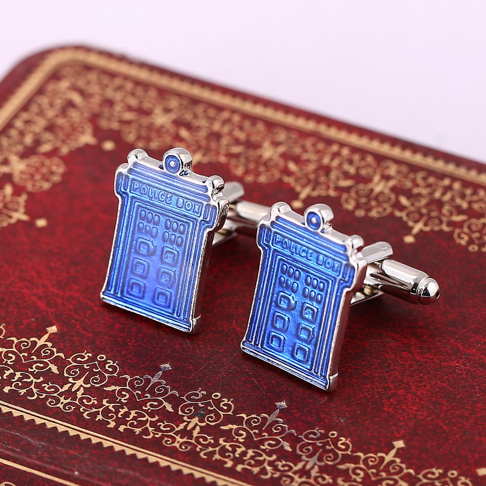 Classic Movie Doctor Who Blue Enamel House Cuff Links Shirt Brand Cuff Buttons Quality Black Cufflinks Mens Jewelry Wholesale