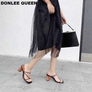 Image 2 - Sandalias de tacón alto con punta abierta para mujer, Sandalias de tacón de bloque de madera, elegantes, para fiesta, verano, 2019