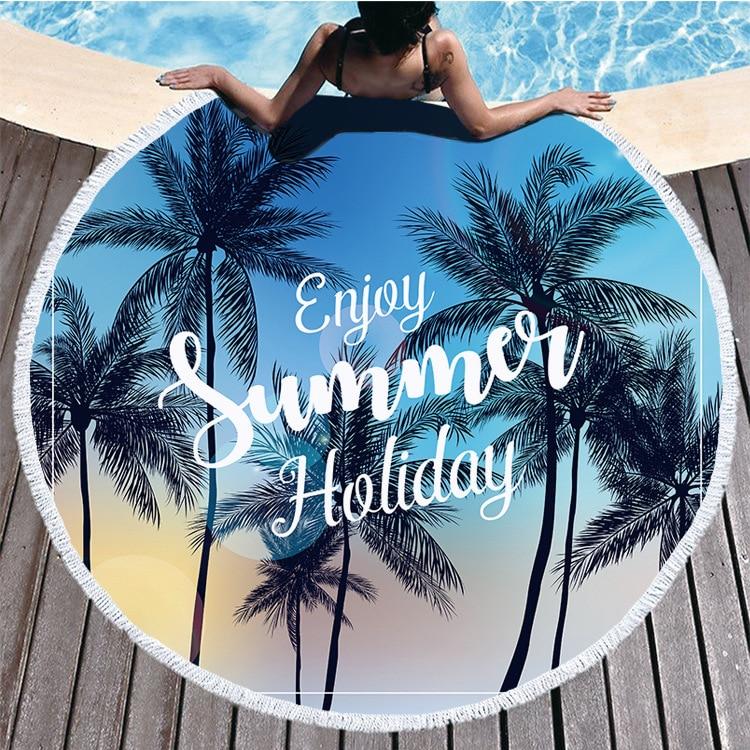 1 Pc Fashion Printed Tropical Coconut Tree Sea Scenery Round Beach Towel for Living Room Home Decor Boho Style Bath Towels