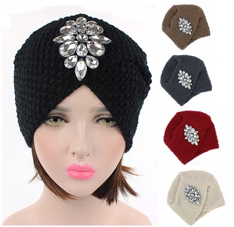 Women Luxury Silver Beaded Diamond Warm Knit Beanie Hat Cancer Hat