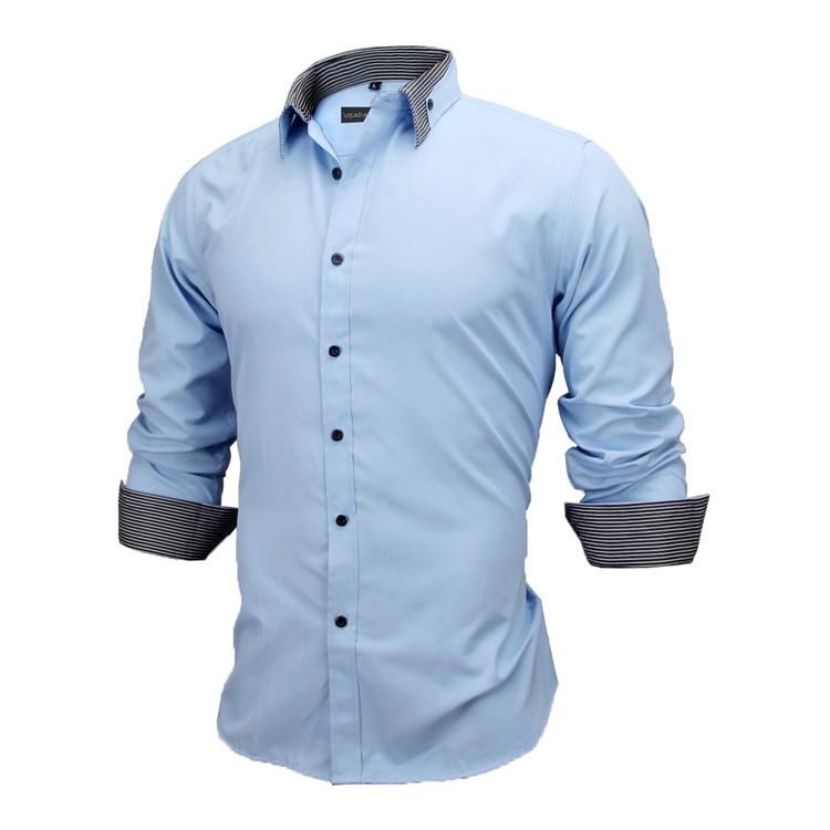 HTB1PlXbKVXXXXXDXFXXq6xXFXXX1 - New Arrivals Slim Fit Male Shirt Solid Long Sleeve British Style Cotton Men's Shirt N332
