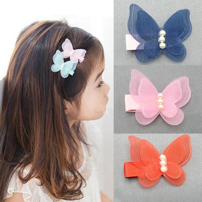 Kids Hair Clips Hair Pin Chiffon Pearl 3D Butterfly Princess Headwear Kids Children Hair Accessories Sweet Barrettes for Girls