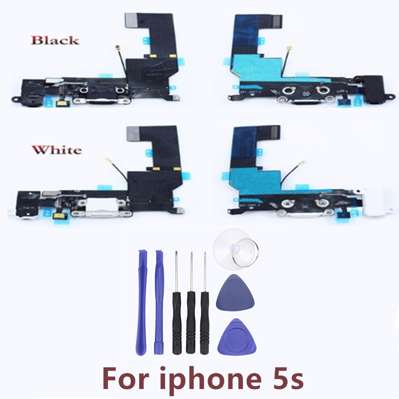 1Pcs For <font><b>iPhone</b></font> <font><b>5S</b></font> USB Charging Port Flex Cable Charger Port Socket Dock <font><b>Connector</b></font> Board Module Replacement Parts image