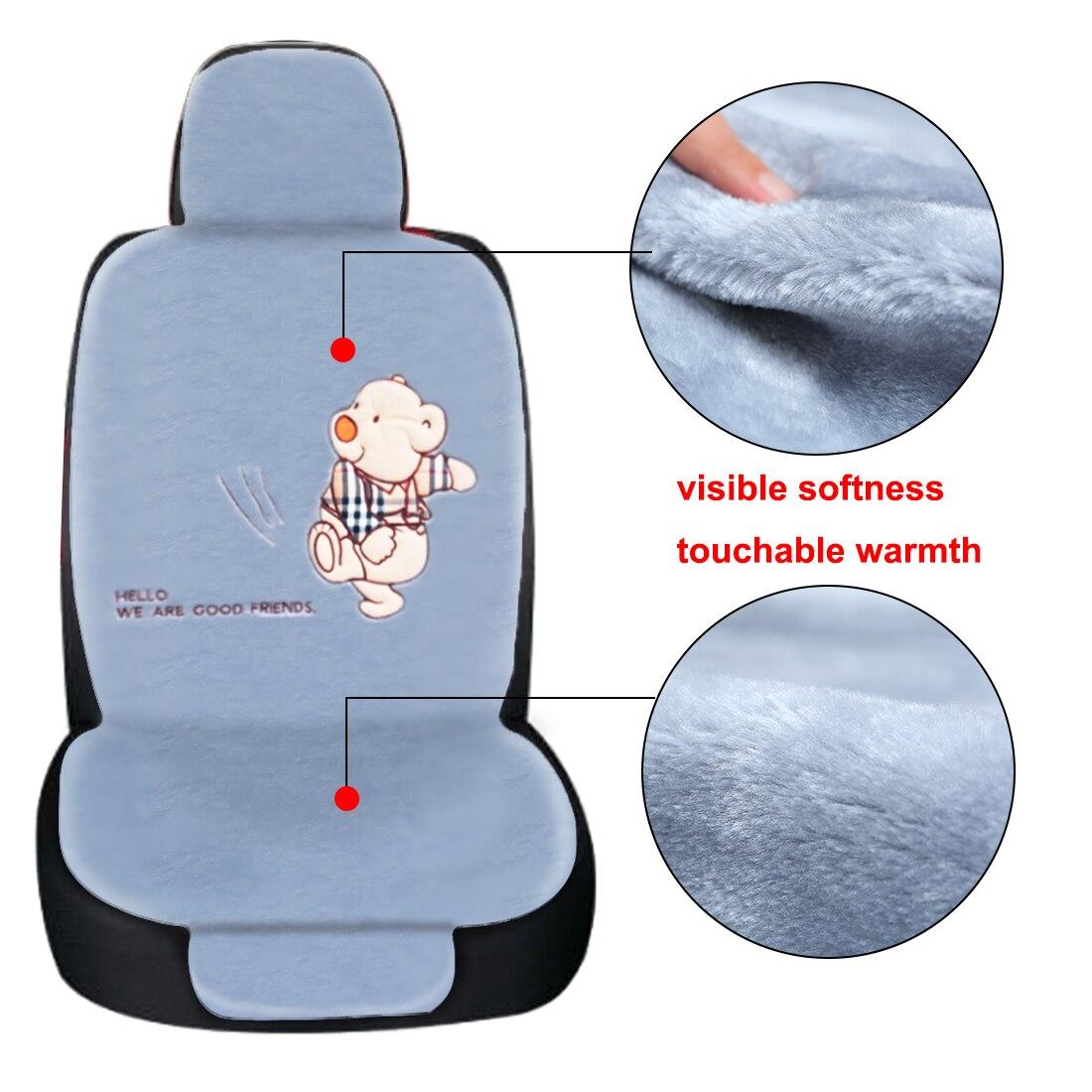 Dewtreetali Universal Winter Car Seat Cover Bear/Girl Driver Seat Cushion Protector Plush Car Pad for VW Kia Skada BMW Audi