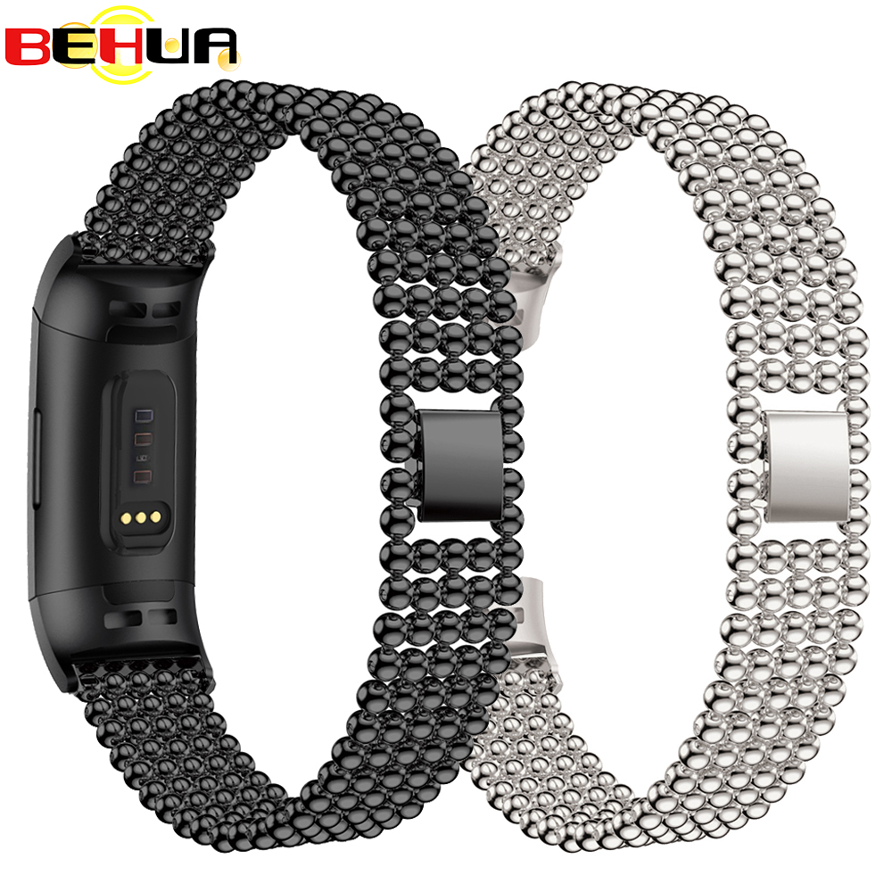 Metal Stainless Steel Wristband For Fitbit Charge 3 Bling Crystal Adjustable Bracelet Strap With Connector Band For Charge 3