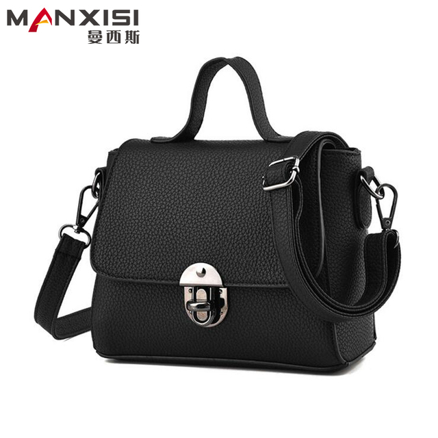 MANXISI Brand Shoulder Bags Small Crossbody Bag for Women Casual Soft Cover Messenger Bags Solid Black Leather Handbags Flap