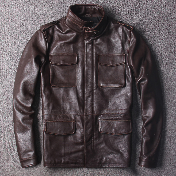 Free Shipping.classic brown M65 genuine leather jacket,plus size cowhide safari style long coat,quality warm jackets