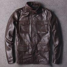Gratis Verzending. classic bruin M65 echt lederen jas, plus size koeienhuid safari stijl lange jas, kwaliteit warm jassen