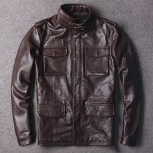 Ücretsiz Kargo. klasik kahverengi M65 hakiki deri ceket, artı boyutu inek derisi safari tarzı uzun ceket, kaliteli sıcak ceketler