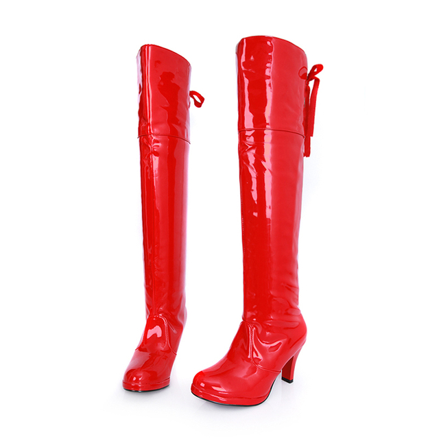 Plus Size 44 Women Boots Patent Leather Over the Knee Boots for Women Black Red Sexy High Heels Long Platform Dancing Boots