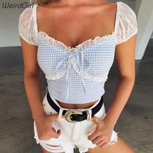 Weirdgirl women sexy fashion plaid t-shirt v-neck short sleeve femme tees elastic stretched cute crop tops streetwear summer new