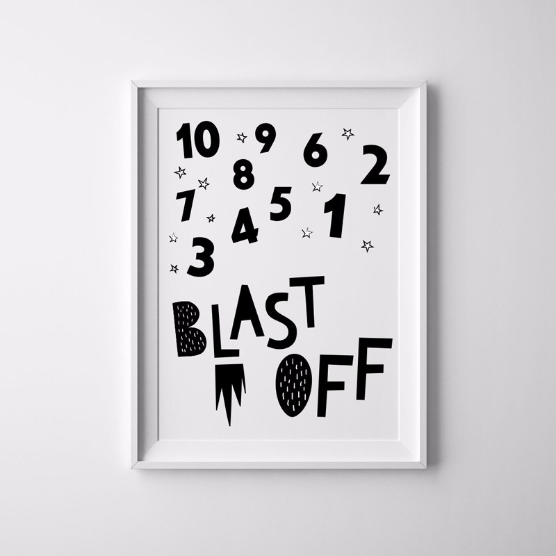 Hot canvas prints nursery art illustration blast off rocket kids art black and white universe space print nursery baby decor in painting calligraphy