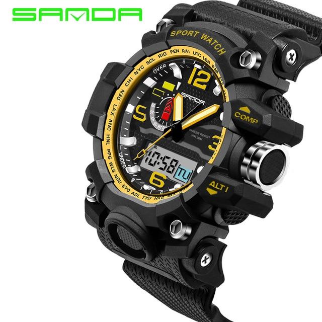 SANDA brand men sports watches analog digital LED Electronic quartz watches  30M waterproof swimming watch 6dcada333c