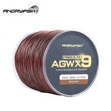 ANGRYFISH Fishing Line Diominate X9 PE 9 Strands Weaves Braided 500m/547yds Super Strong 15LB-100LB Brown