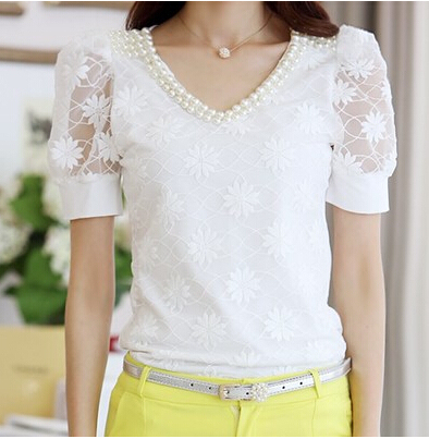 summer Women lace V-neck short-sleeved shirt Slim beaded chiffon shirt bottoming casual blouse 1