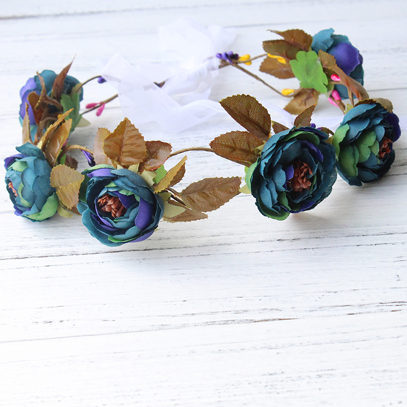 Multicolor Touch Silk Roses Summer beach fresh and bridal tiara Garland small wreath Korea cute DIY Hat accessories forest dimensions wreath of roses