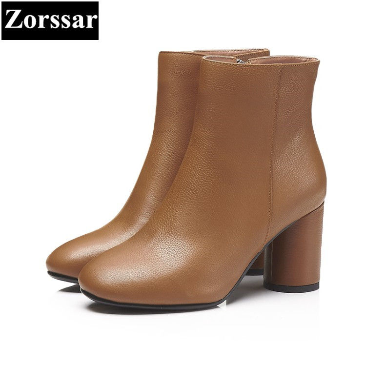 {Zorssar} 2018 NEW fashion zipper thick heel short boots Genuine leather High heels women ankle boots Round Toe women shoes zorssar brands 2018 new arrival fashion women shoes thick heel zipper ankle chelsea boots square toe high heels womens boots