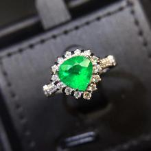 Fine Jewelry G18k Emerald Rings Real Diamonds 18K Gold Natural Emerald 1.02ct Gemstones Female Wedding Rings for women Fine Ring