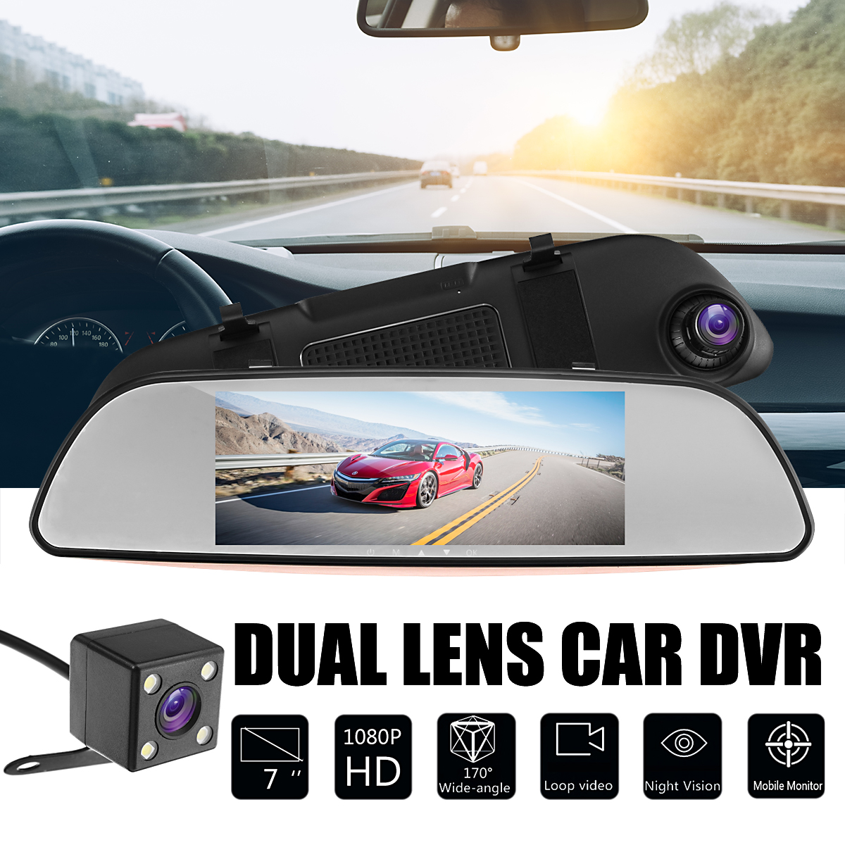 7 TFT LCD Screen FHD 1080P Dual Lens Car DVR 170 Degree Wide Angle Dash Cam Video Recorder + Parking Rear View Mirror Camera