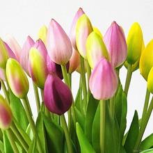 Fleurs artificielles de tulipes en silicone souple, 7 pièces/bouquet, pour une décoration de mariage, fausses fleurs de la main de mariée, pour la maison