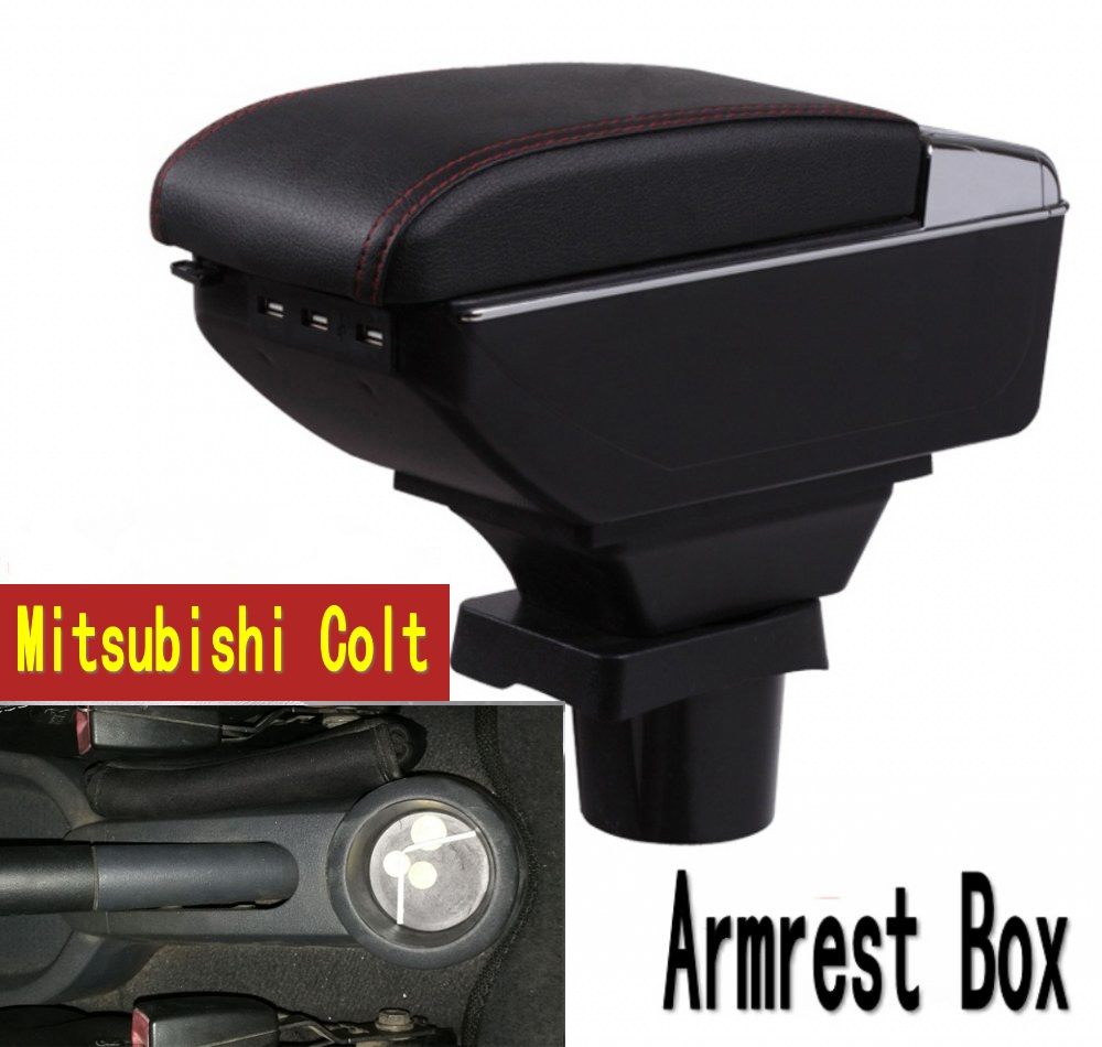 For Mitsubishi Colt Armrest box central Store content box with cup holder ashtray with USB interface universal leather car armrest central store content storage box with cup holder center console armrests free shipping