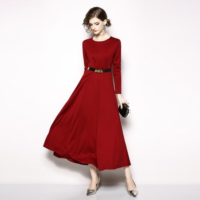 fec4f50114aa vestidos Maxi Dress Vintage long Sleeve Dress Designer Runway O Neck Dress  Belt Lace Up Tunic
