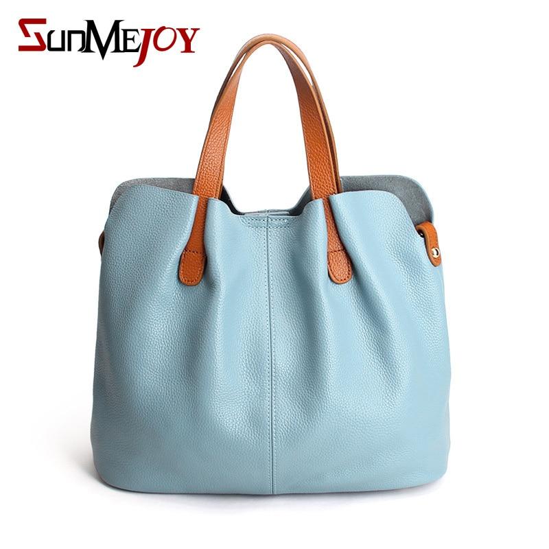 ФОТО SUNMEJOY 2017  Women Genuine leather Tote bags Shoulder Bag Bucket Ladies Purse Casual Shopping Bag Capacity hand bag Bolsos X3