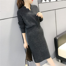 2018 New Fashion Ladys Arm Green Dark Gray Red  slim Long Knitted Wool Dress