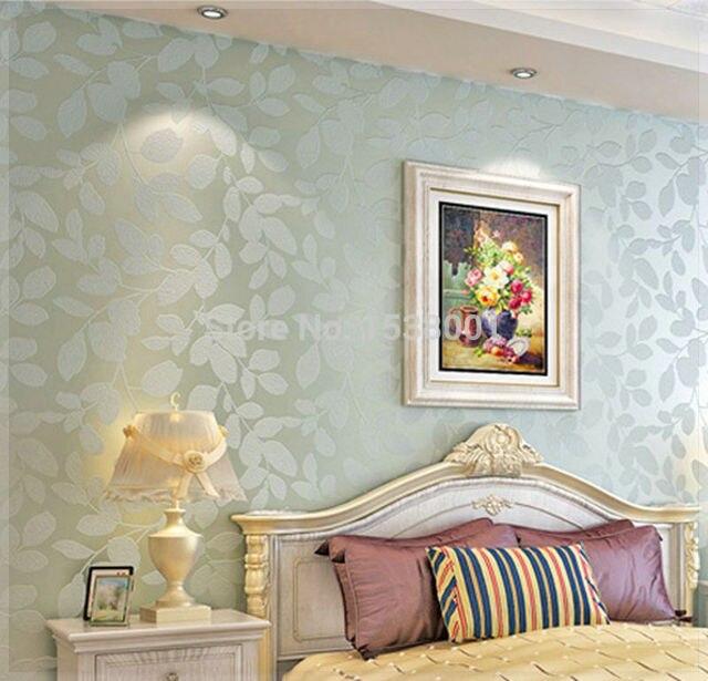 Elegant Non Woven Light Blue Leaf Embossed Wallpaper Warm Bedroom Living Room Background Board Wall