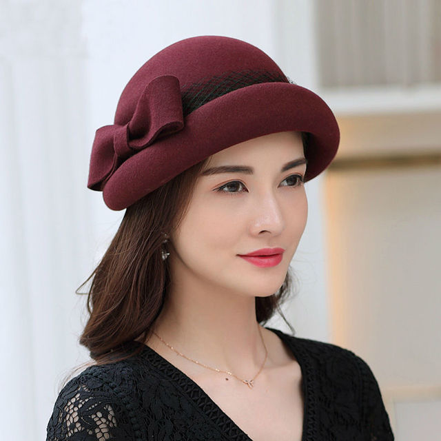 afe2c3b1554e99 Autumn And Winter Wool Cloche Hats Woman Party Formal Bowknot Bowler Beret  Cap Lady Banquet Pure