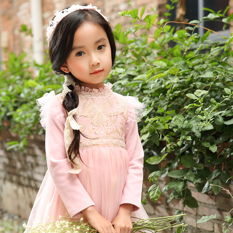 Girls Lace Dress Kids Girls Mesh Tutu Dresses Baby Girl Long Sleeve Princess Dress 2-12Y Party Costume Clothing Children Clothes