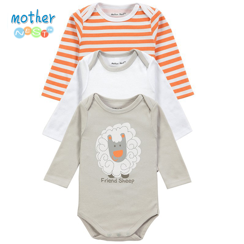 3 Pcs lot Original Brand Baby Boys Girls Clothes Bodysuit Infant Jumpsuit Overall Long Sleeve Spring