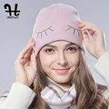 FURTALK Spring Autumn Woman Wool Cotton Cuff Beanie Knit Hat Ski Watch Cap simling eye hat