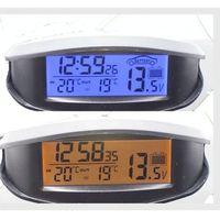 ดิจิตอลรถยนต์เครื่องวัดอุณหภูมิส่องสว่างledนาฬิกาตั้งโต๊ะในร่ม/กลางแจ้ง
