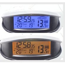 Sale Digital Car Thermometer Luminous LED Table Clock Indoor/outdoor Thermometers Voltmeter Time AlarmBlue Orange Backlight EC98