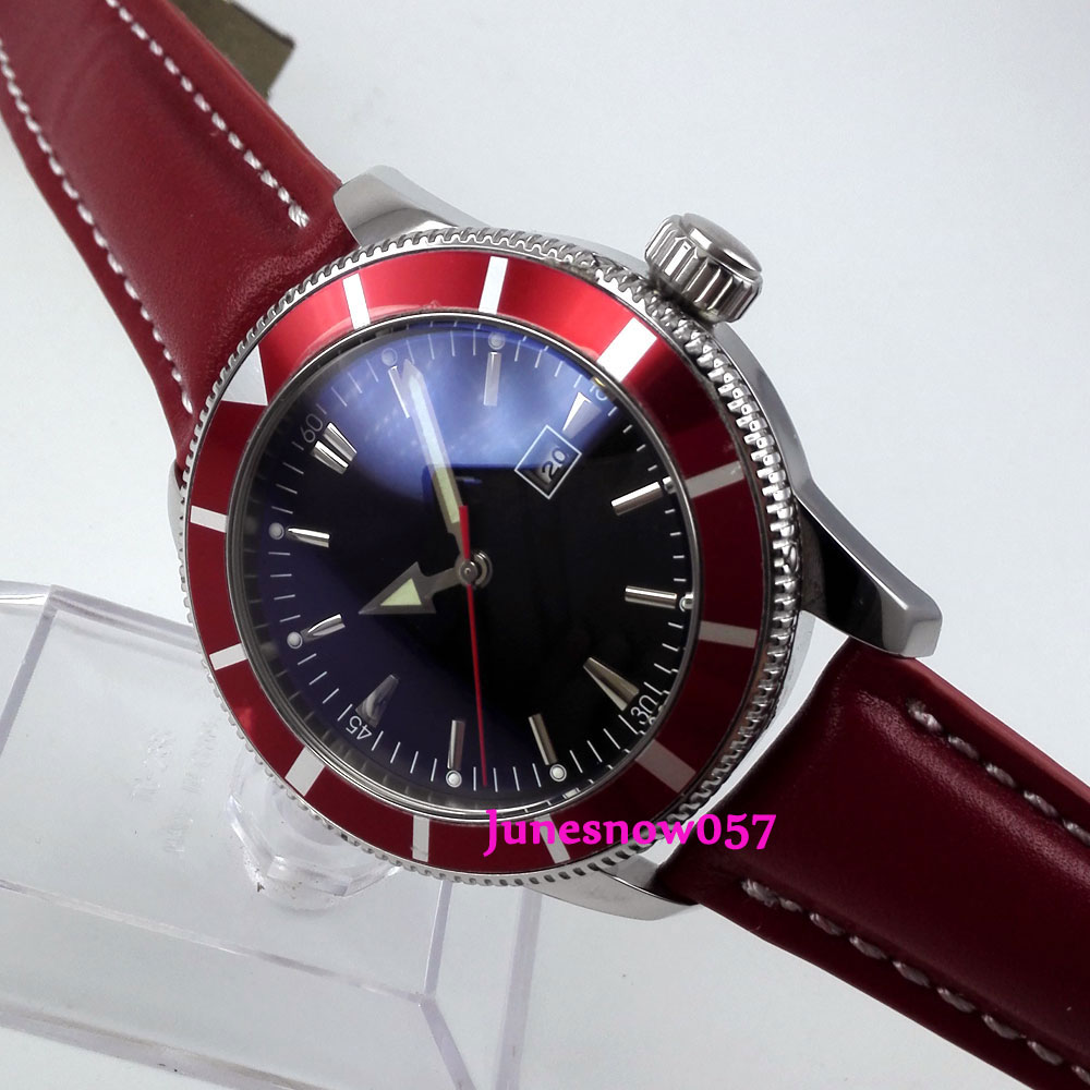 Bliger 46mm black sterial dial date red bezel luminous deployant clasp Automatic men's watch цена и фото